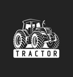 white tractor on black background vector image vector image