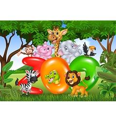 Word zoo with cartoon wild animal africa vector image vector image