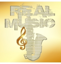 Real music gold stencil saxophone vector