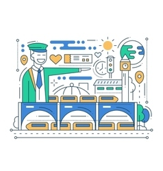 Railway station - line design composition vector