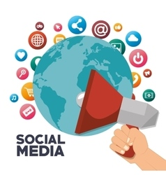 Megaphone global social media isolated design vector