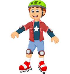 cute boy cartoon playing roller skates vector image