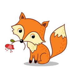 Fox is holding a flower in his mouth vector