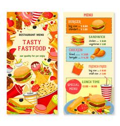 fast food templates for restaurant menu vector image