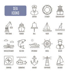 Sea icons set of pictogram vector