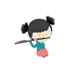 Cute little girl playing flute isolated on white vector