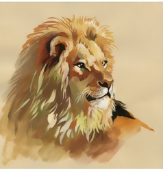Watercolor lion on a brown background vector