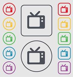 Retro TV icon sign symbol on the Round and square vector image