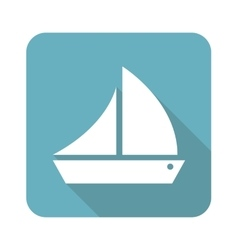 Square sailing ship icon vector