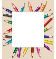 D pencils under blank sheet of paper vector vector