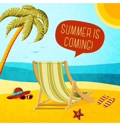Cute summer poster - beach chair palm hat and vector