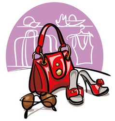 Female handbag shoes and sunglasses vector