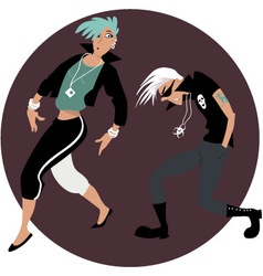 Cartoon couple dancing vector