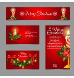 Different red cards with christmas burning candles vector
