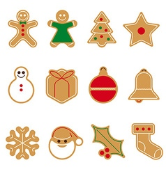 Gingerbread cookie icon set vector