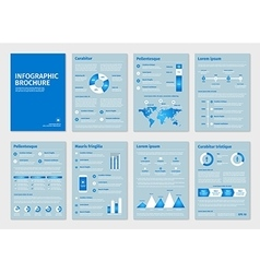 Blue business a4 brochures with infographic vector