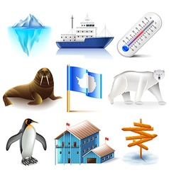 Antarctica icons set vector image