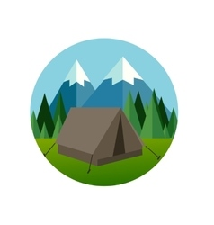 Camp forest mountain flat graphic icon vector