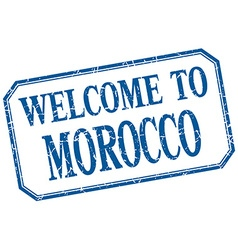 Morocco - welcome blue vintage isolated label vector