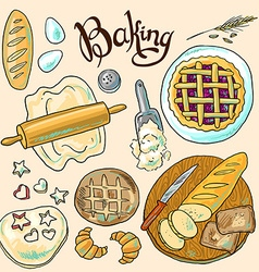 Beautiful hand-draw color set of baking vector