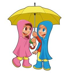 Boy and girl under the umbrella vector image