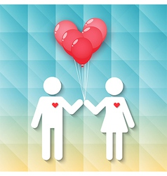 boy and girl with red heart balloons vector image vector image