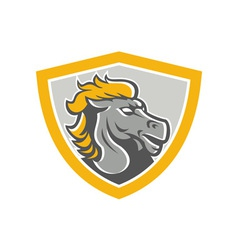 Bronco horse head shield vector