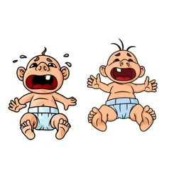 Cartoon crying babies with open mouths vector image
