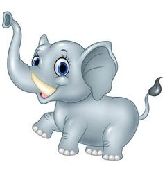 Cartoon funny baby elephant isolated on white back vector