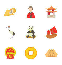China republic icons set cartoon style vector