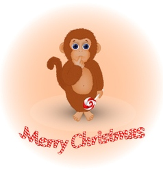 Christmas card with a monkey vector image