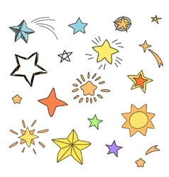 Collection of handdrawn stars in various shapes vector image