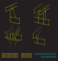 construction drawings 3d metal construction the vector image