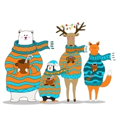 Cute fox christmas holiday greeting card vector image vector image
