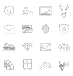 Finance exchange outline icons vector image vector image