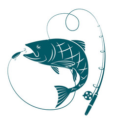 Fish and fishing rod silhouettes for fishing vector