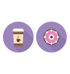 Flat cup of coffee and pie vector