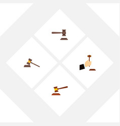 Flat icon hammer set of court law legal and vector