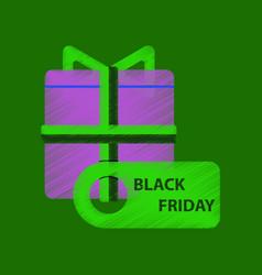 Flat shading style icon gift box black friday vector