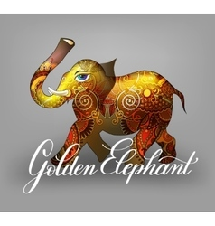 Golden elephant decorative 3d vector