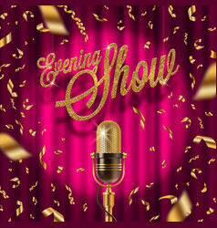 Golden signboard and retro microphone on stage vector