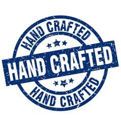 Hand crafted blue round grunge stamp vector