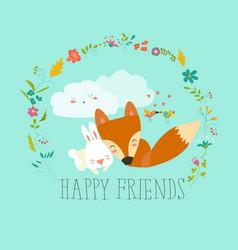 happy friends foxrabbit vector image vector image