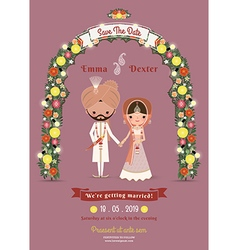 Indian Wedding Bride Groom Cartoon Romantic vector image vector image