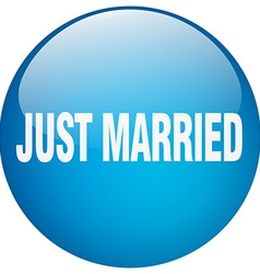 Just married blue round gel isolated push button vector