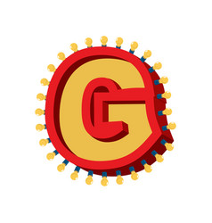 letter g lamp glowing font vintage light bulb vector image vector image