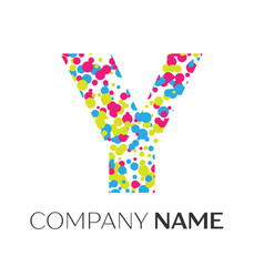 Letter y logo with blue yellow red particles vector