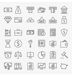 Line banking money and finance icons big set vector