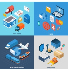 Mail isometric set vector
