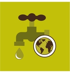 Map earth environment ecological green tap water vector